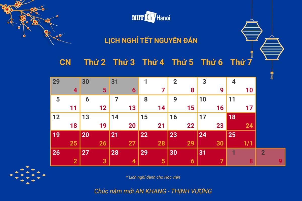 Lịch nghỉ tết Nguyên đán 2020 (Dành cho học viên NIIT - ICT Hà Nội)