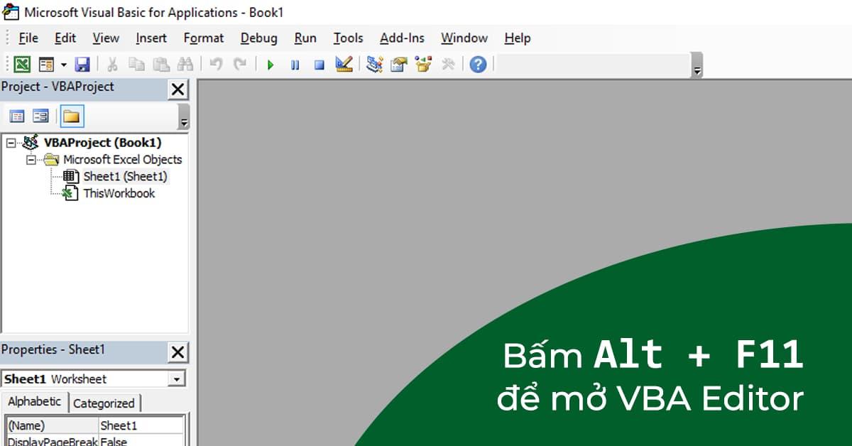 Cách mở trình soạn thảo VBA (VBA Editor) trong Excel